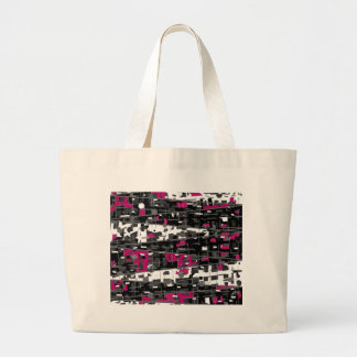 Magenta, gray and white decorative art large tote bag