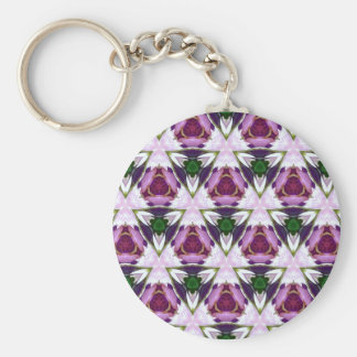 Magenta Green Burgandy Geomettic Chic Pattern Basic Round Button Keychain