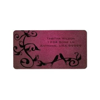 Magenta Grunge Swirls Address Label
