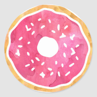 Magenta Hot Pink Donut Stickers
