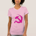 Magenta & Lilac Hammer & Sickle on Women's Shirts