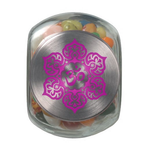 Magenta Lotus Flower Om Jelly Belly Candy Jars