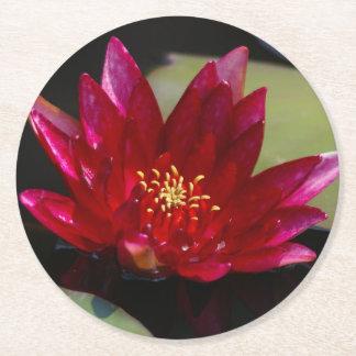 Magenta Lotus Waterlily Round Paper Coaster