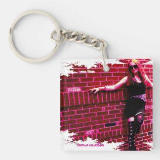 Magenta Mandelbrot Single-Sided Square Acrylic Keychain
