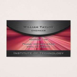 Magenta Metallic Elegance with QR code Business Card