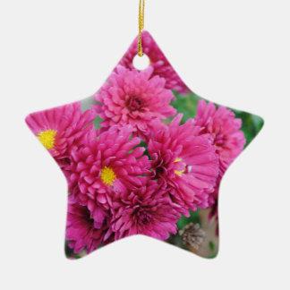 Magenta Mums Ceramic Star Ornament