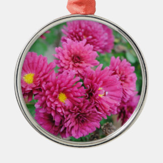 Magenta Mums Silver-Colored Round Ornament