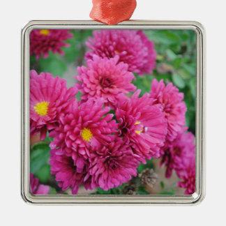 Magenta Mums Silver-Colored Square Ornament