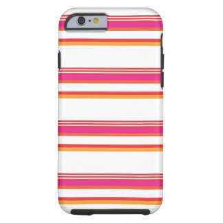 Magenta Orange Horizontal Stripe Tough iPhone 6 Case