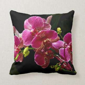 Magenta Orchids in Bloom Throw Pillow