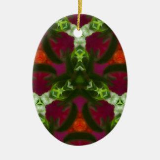 Magenta Peach Green Kaleidoscope Pattern Ceramic Oval Ornament