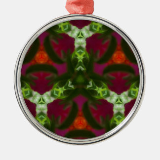 Magenta Peach Green Kaleidoscope Pattern Silver-Colored Round Ornament