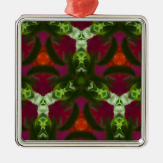 Magenta Peach Green Kaleidoscope Pattern Silver-Colored Square Ornament