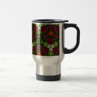 Magenta Peach Green Kaleidoscope Pattern Travel Mug