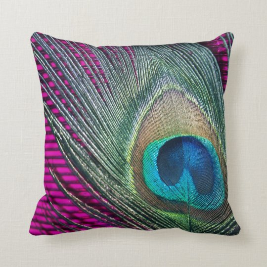 Magenta Peacock with Lines Throw Pillow