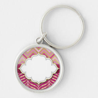 Magenta Pink and Gold Chevron Silver-Colored Round Keychain