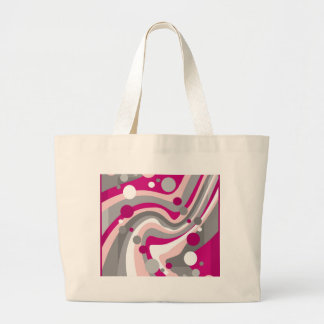 Magenta, pink and gray design large tote bag