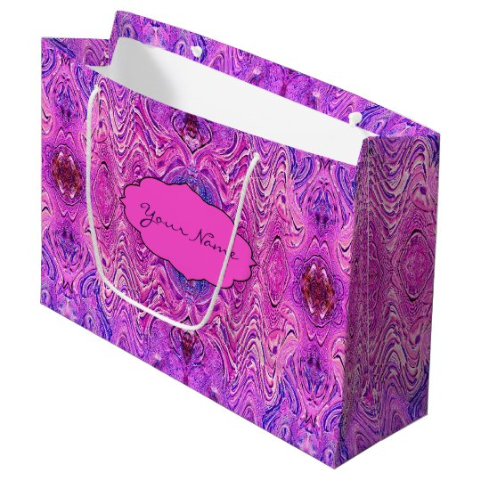 Magenta Pink and Purple Abstract Large Gift Bag