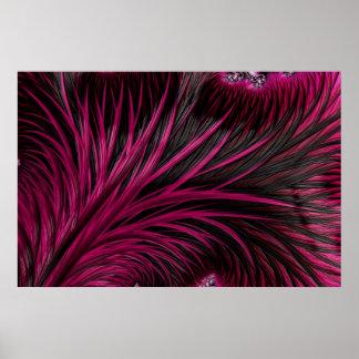 Magenta pink black 3D fractal art Poster