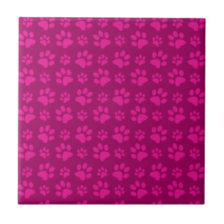 Magenta pink dog paw prints pattern tile