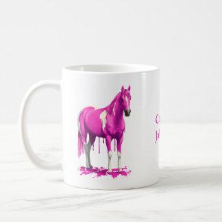 Magenta Pink Dripping Wet Paint Horse Coffee Mug