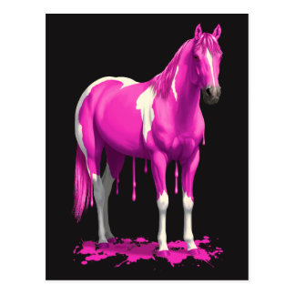 Magenta Pink Dripping Wet Paint Horse Postcard