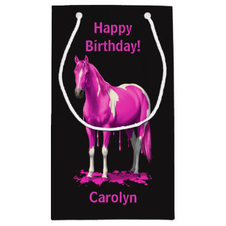 Magenta Pink Dripping Wet Paint Horse Small Gift Bag