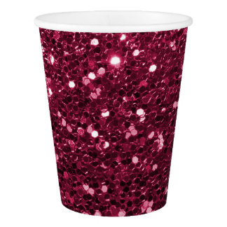 Magenta Pink Faux Glitter Sparkle Paper Cup