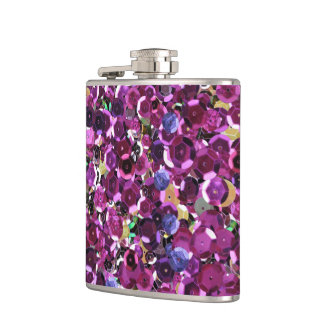 Magenta Pink Jumbo Sequin Photo Print Hip Flask