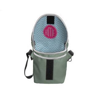 Magenta Pink Monogram with Light Blue Chevron Messenger Bags