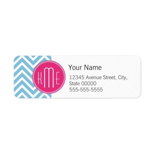 Magenta Pink Monogram with Light Blue Chevron Return Address Label
