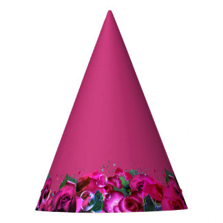Magenta Pink Roses Party Hat