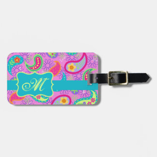 Magenta Pink Turquoise Modern Paisley Monogram Luggage Tag
