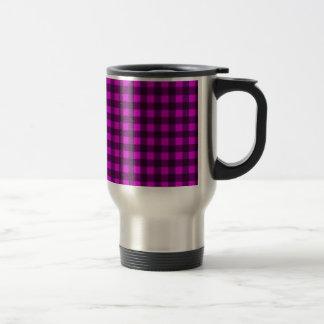 Magenta plaid pattern travel mug