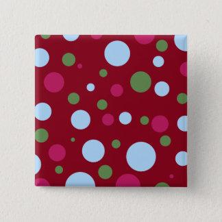 Magenta Polka dot square button