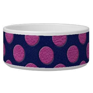 Magenta Polka Dots On Indigo Blue Leather Texture Dog Water Bowl