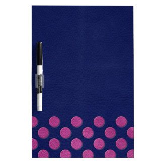 Magenta Polka Dots On Indigo Blue Leather Texture Dry Erase Boards