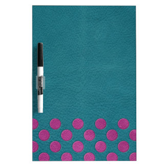 Magenta Polka Dots on Turquoise Leather Print Dry Erase Whiteboards