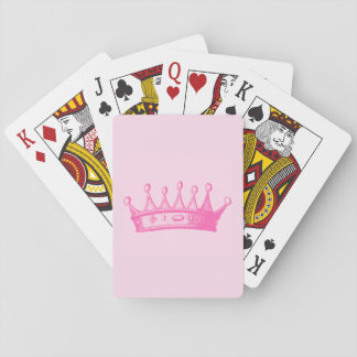 Magenta Princess Crown on Pink Background Playing Cards