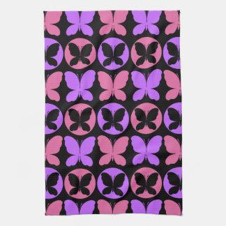 Magenta Purple Black Butterflies Butterfly Pattern Kitchen Towel