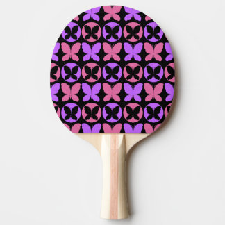 Magenta Purple Black Butterflies Butterfly Pattern Ping Pong Paddle