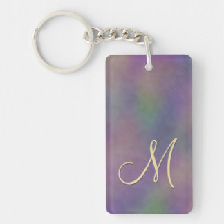 Magenta Purple Green Gold Monogram Keychain