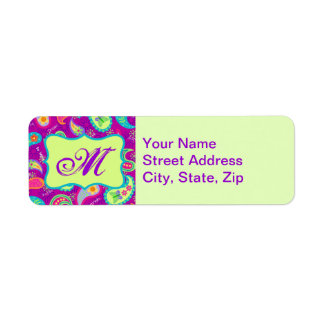 Magenta Purple Green Modern Paisley Monogram Return Address Label