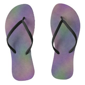 Magenta Purple Green Yellow Abstract Flip Flops