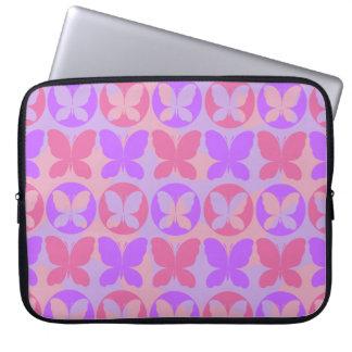 Magenta Purple Pink Butterflies Butterfly Pattern Laptop Sleeve