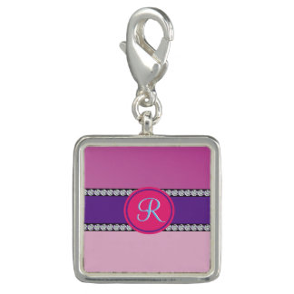 Magenta Purple Pink Mauve Girly Monogram Initial Charm