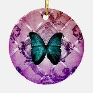Magenta Purple Swirls Bohemian Teal Butterfly Ceramic Ornament