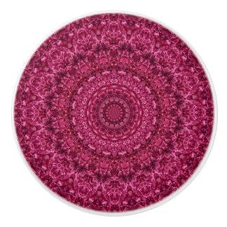 Magenta Rose Ruffles Floral Mandala Ceramic Knob