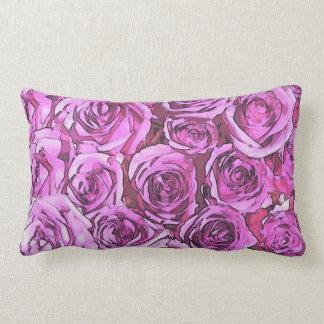 Magenta Roses Lumbar Pillow