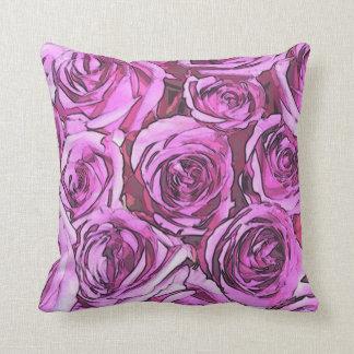 Magenta roses throw pillow